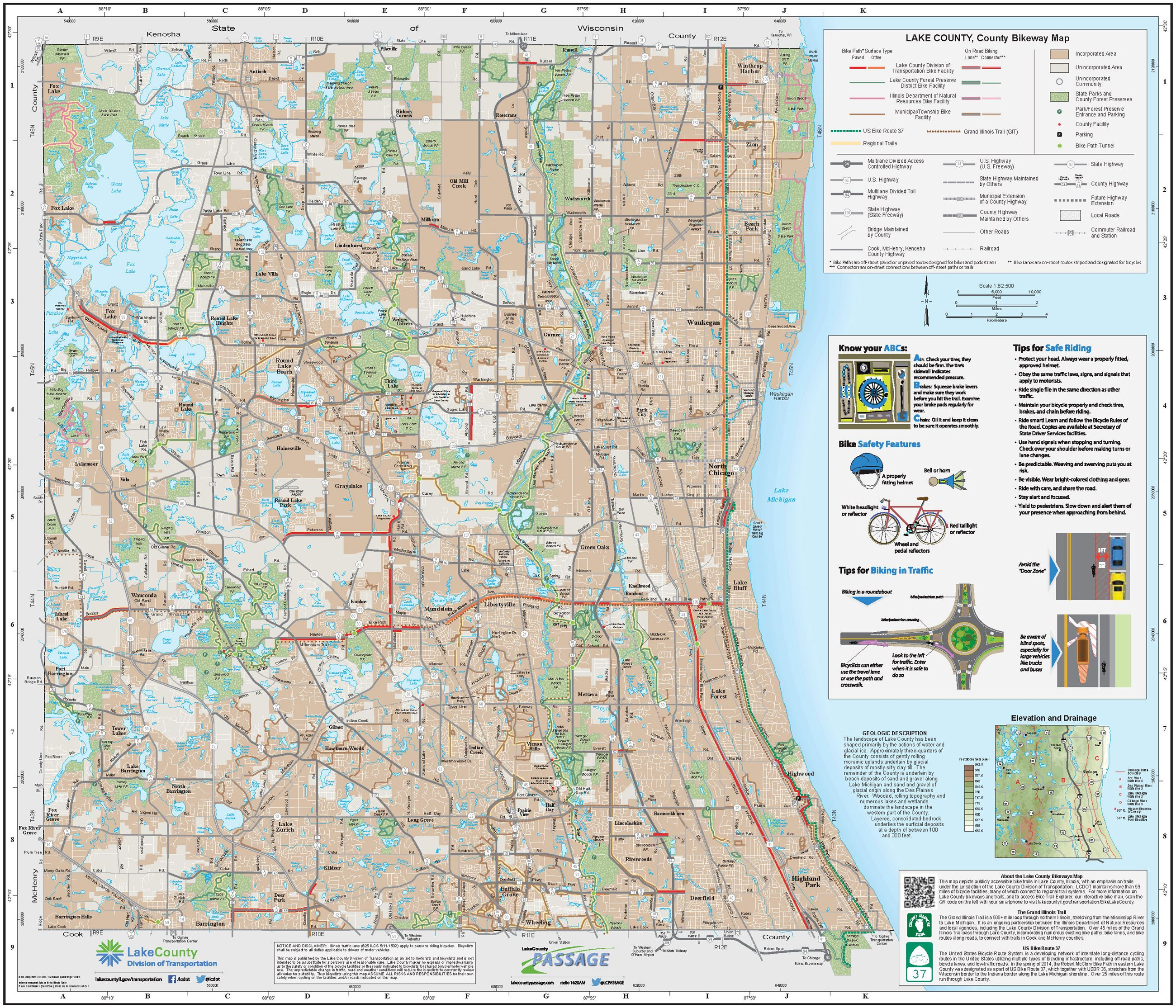 Bikeways Lake County IL - Chicago map safety