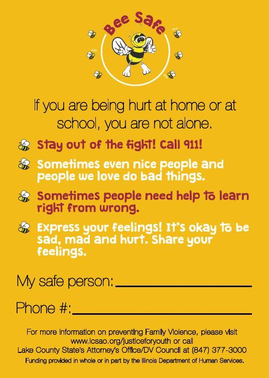 Bee Safe Safety Card English Back