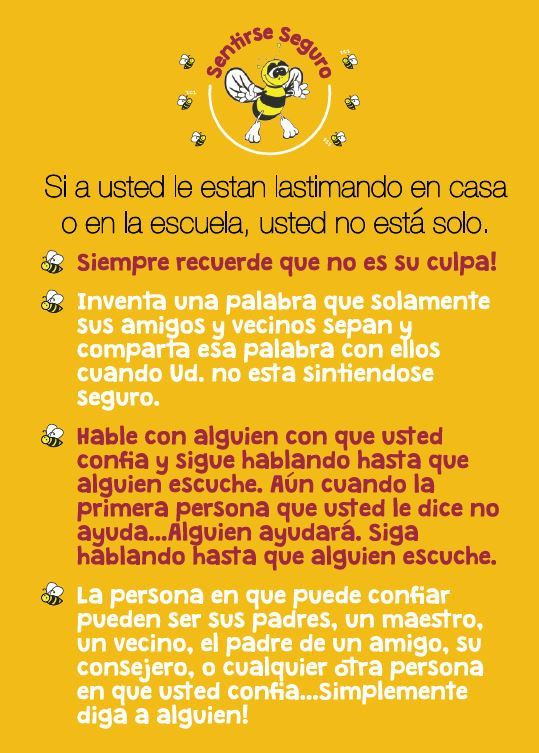 Bee Safe Safety Card Spanish Front